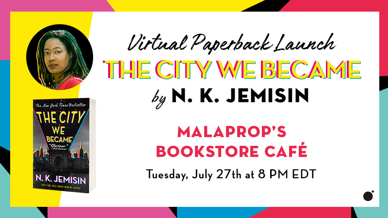 A rainbow background shows a headshot of N.K.Jemisin, cover of The City We Became, and the event details in bold black type
