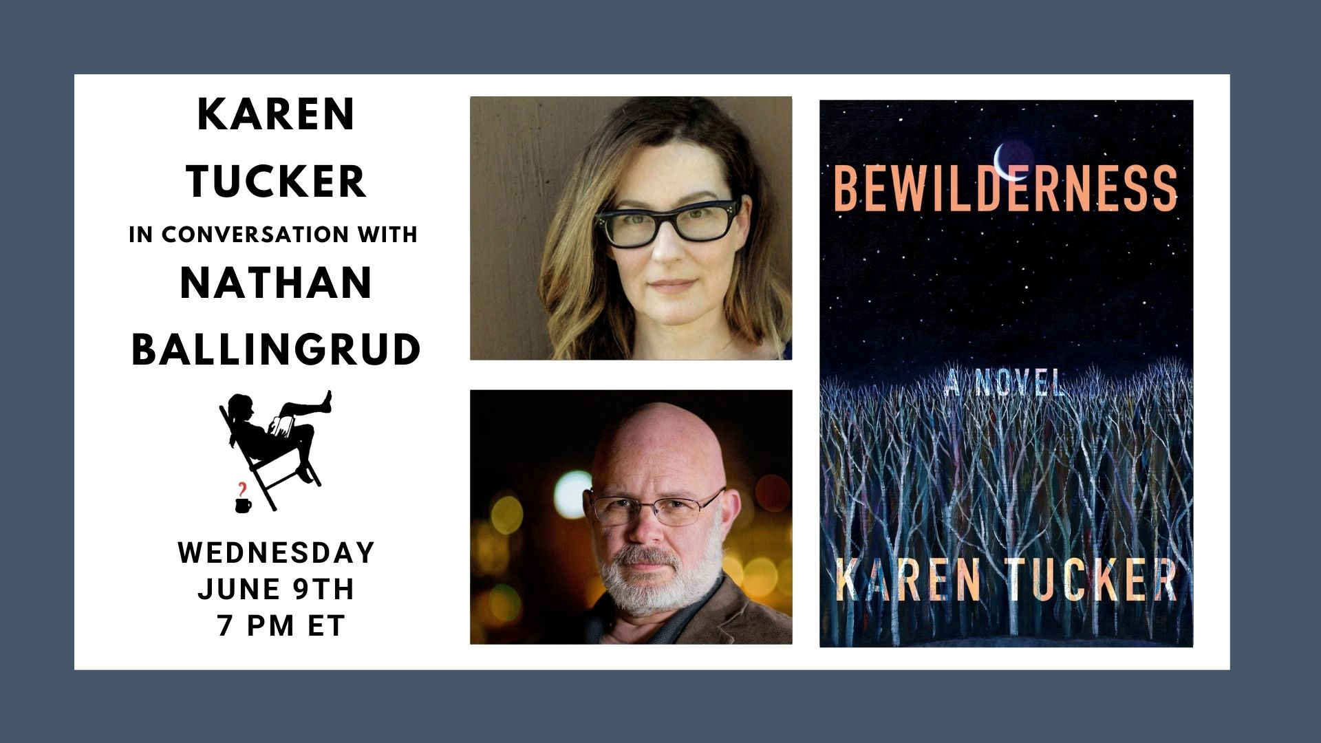 Image shows the authors and featured book cover for event on 6/9/21 at 7pm