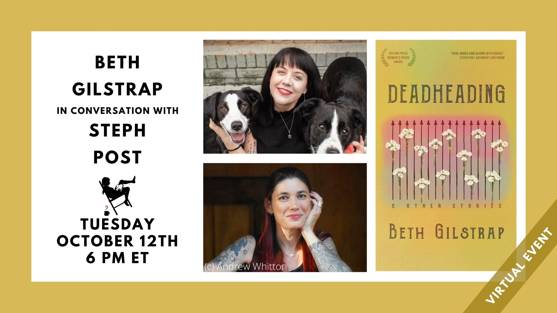 """Image contains text """"Beth Gilstrap in conversation with Steph Post, Tuesday, October 12th at 6pm. Also features headshots of authors and cover image of featured book"""