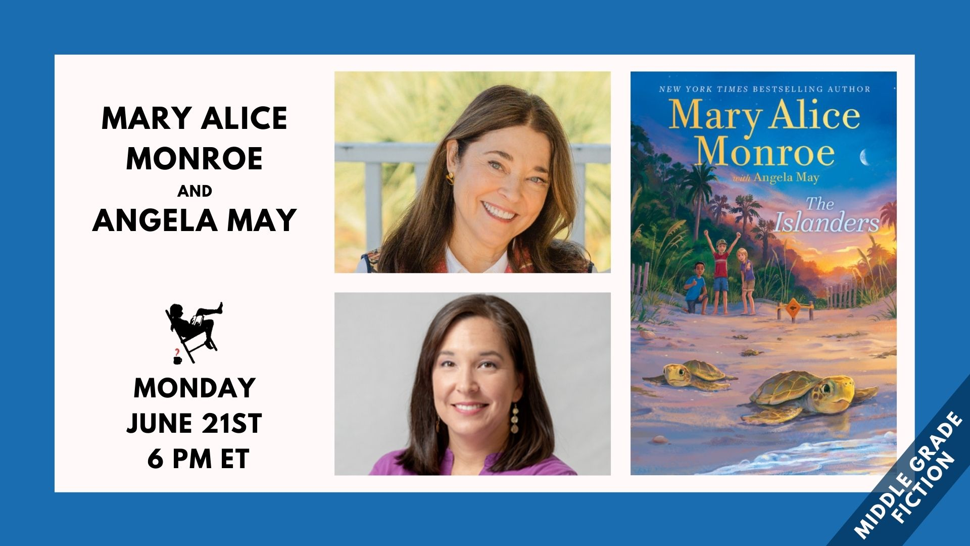 Image shows the faces of Mary Alice Monroe and Angela May, the cover of the book The Exiles, and the event date Monday, June 21st, 6 PM ET