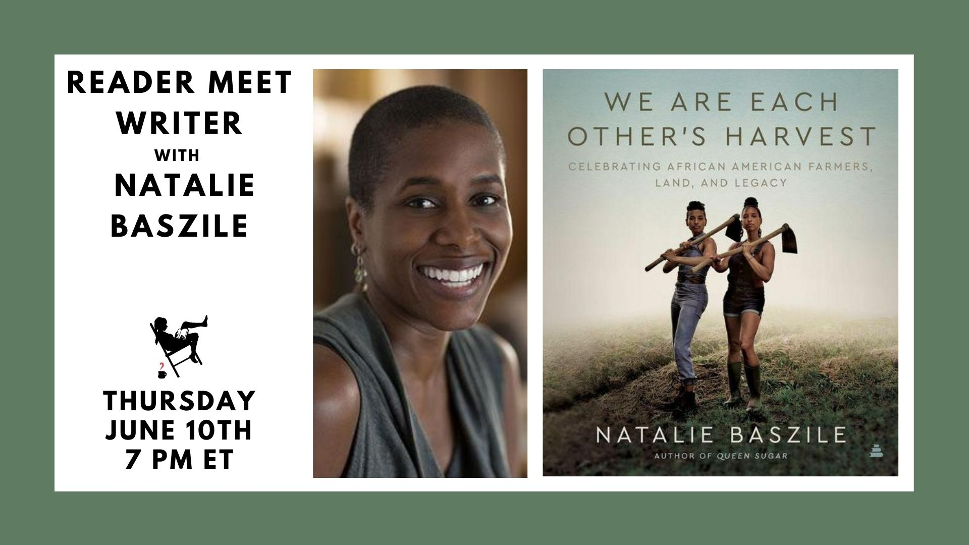 Image shows author and featured book cover for event on 6/10/21 at 7pm