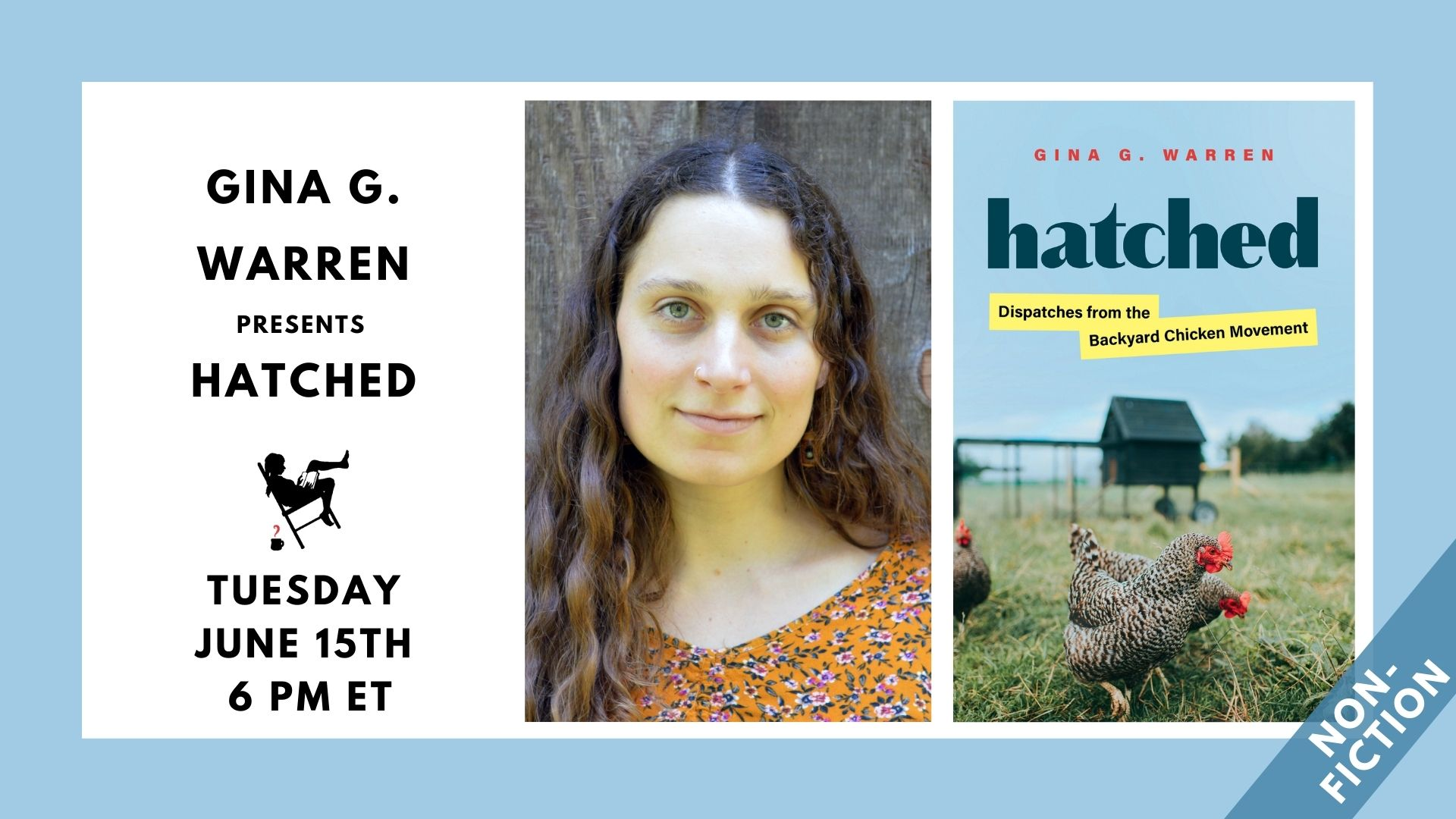 Image is of a tan border with white block containing: the HATCHED book cover; the name and headshot for Gina G. Warren; and the event date of 6/15/21 at 6pm