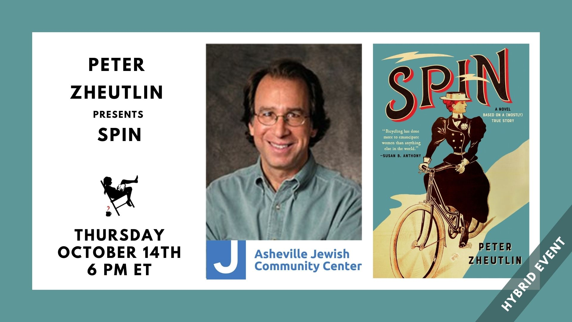 Image contains event title, event date, and images of Peter Zheutlin, the JCC logo, and the cover of Spin