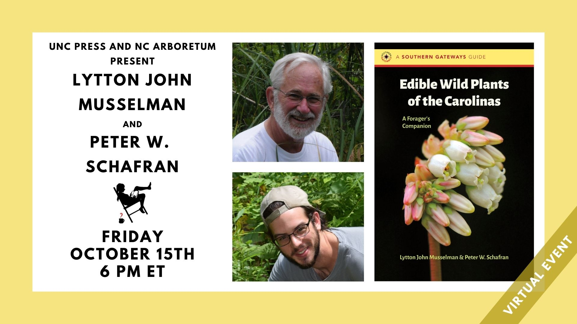 Image contains event title, hosts, participants names, Friday, October 15th at 6pm. Also features headshots of authors and cover image of featured book