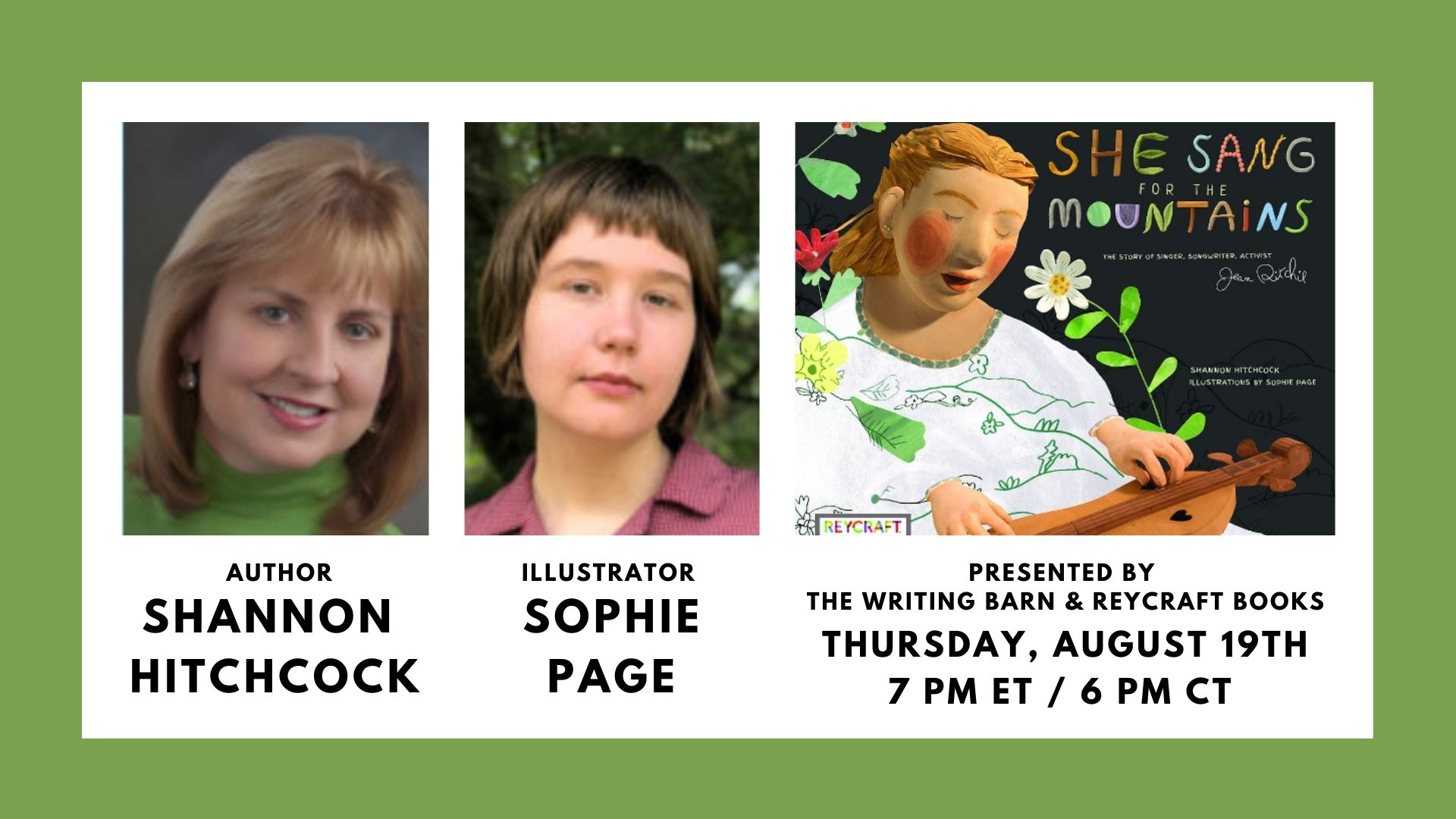 image shows green border with white box and black text with participants and event date. Also pictured are headshots of participants and cover of the featured book.