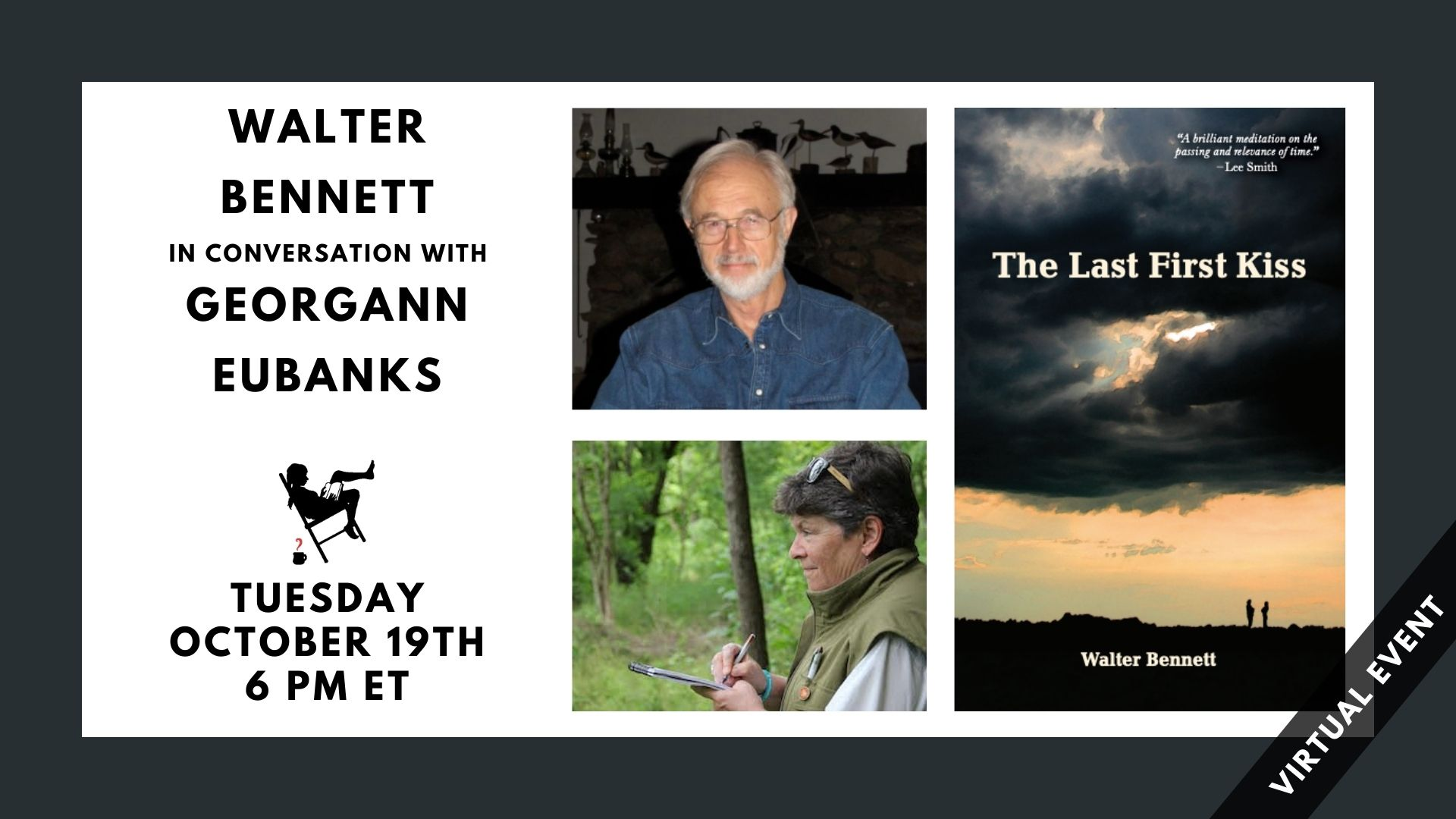 image shows event title, participants, date, time, and photos of participants and featured book cover.